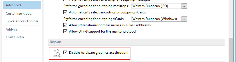 Outlook Advanced Settings